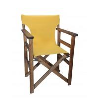Πολυθρόνα - Καρέκλα Σκηνοθέτη Φουρνιστή Οξιά Πτυσσόμενη Καρυδί Χρώμα Κίτρινο Καραβόπανο 57x52x86υψ Κατ' Εξοχήν 77013