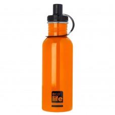 Μπουκάλι Ανοξείδωτο Με Πώμα 600ml Πορτοκαλί Ecolife Φ7,5x25υψ 33-BO-1003