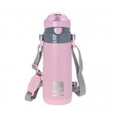 Θερμός Παιδικό Ανοξείδωτο Με Καλαμάκι Και Λουράκι 400ml Ροζ Ecolife 33-BO-3007