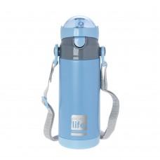 Θερμός Παιδικό Ανοξείδωτο Με Καλαμάκι Και Λουράκι 400ml Μπλε Ecolife 33-BO-3008