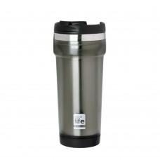 Θερμός Πλαστικό Με Ανοξείδωτη Εσωτερική Επένδυση 420ml Γκρι Ecolife 33-BO-4010