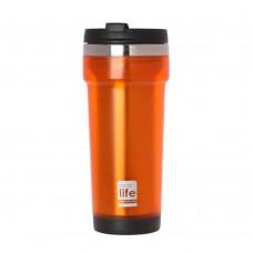 Θερμός Πλαστικό Με Ανοξείδωτη Εσωτερική Επένδυση 420ml Πορτοκαλί Ecolife 33-BO-4014