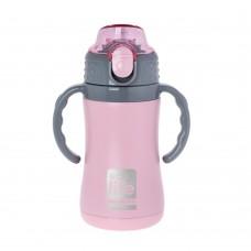 Θερμός Παιδικό Ανοξείδωτο Με Καλαμάκι 300ml Ροζ Ecolife 33-BO-3005