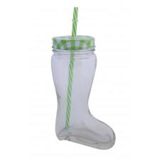 Ποτήρι Μπότα Τρύπα Και Καλαμάκι 0,5lt Πράσινο Καρώ 22-BOOT 03-950-2697