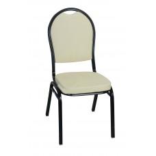 Μεταλλική Καρέκλα Μαύρος Σκελετός Μπεζ Κάθισμα Και Πλάτη CHR-JDY-002/BLK+BG 42x44x93