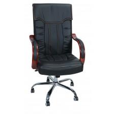 Καρέκλα Γραφείου Διευθυντική Με Δερματίνη Μεταλλικά Πόδια OFCHR-A-010/BLK 55x61x110