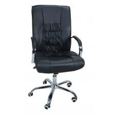 Καρέκλα Γραφείου Διευθυντική Με Δερματίνη Μεταλλικά Πόδια OFCHR-A-909/BLK 55x57x110