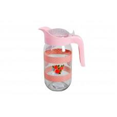 Κανάτα Γυάλινη Σχέδιο Ροζ 1lt 100122