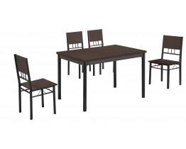 Σετ Τραπέζι Με 4 Καρέκλες Κερασί Χρώμα Ανθρακί Σκελετό A/B-26-VEGE 120x75εκ