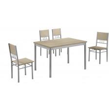 Σετ Τραπέζι Με 4 Καρέκλες Φυσικό Χρώμα Γκρι Σκελετό A/B-26-NAT/18 120x75εκ