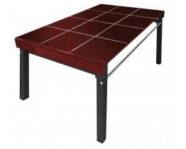 Τραπέζι Γυάλινο Μπορντώ Χρώμα Μεταλλικά Πόδια 70110RED 70x110x75υψ
