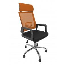 Καρέκλα Γραφείου Δίχτυ Μεταλλική Βάση Πορτοκαλί Με Προσκέφαλο 302ORG