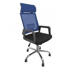 Καρέκλα Γραφείου Δίχτυ Μεταλλική Βάση Μπλε Με Προσκέφαλο 302BLU