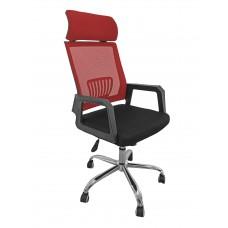 Καρέκλα Γραφείου Δίχτυ Μεταλλική Βάση Κόκκινη Με Προσκέφαλο 302RED