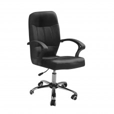 Καρέκλα Γραφείου Μαύρη Δερματίνη Μεταλλική Βάση OFF-CHR-PAI-131