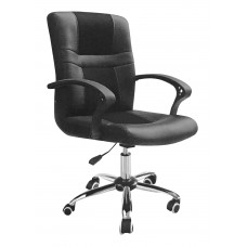 Καρέκλα Γραφείου Μαύρη Δερματίνη Μεταλλική Βάση OFF-CHR-PAI-132