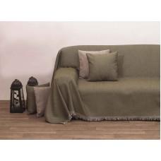 Μαξιλάρι Καναπέ Με Γέμιση Μονόχρωμο Σενίλ 42x42εκ 2100 Λαδί Viopros