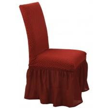 Κάλυμμα Καρέκλας Με Βολάν Ελαστικό Μπορντώ Σίλβερ Viopros