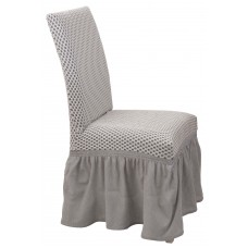 Κάλυμμα Καρέκλας Με Βολάν Ελαστικό Ζαχαρί Σίλβερ Viopros