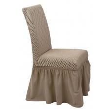 Κάλυμμα Καρέκλας Με Βολάν Ελαστικό Μπεζ Σίλβερ Viopros