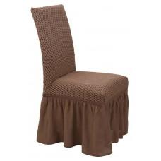 Κάλυμμα Καρέκλας Με Βολάν Ελαστικό Σοκολά Σίλβερ Viopros