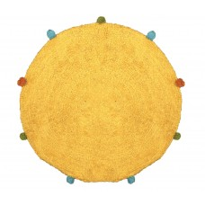 Πατάκι Μπάνιου 100% Βαμβάκι Στρογγυλό Φ60εκ Κίτρινο Φιέστα Viopros