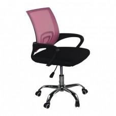 Πολυθρόνα Γραφείου χωρίς Ανάκλιση, Μέταλλο Χρώμιο Mesh Ροζ - Μαύρο BF2101-F Woodwell 57x53x86/96υψ 21862 ΕΟ254,7FC