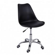 Καρέκλα Γραφείου Χρώμιο PP Μαύρο, Κάθισμα Pu Μαύρο Μονταρισμένη Ταπετσαρία MARTIN Woodwell 51x55x81/91υψ 17936 ΕΟ201,1