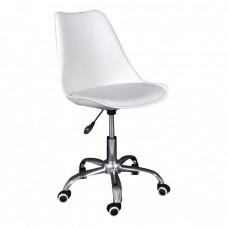 Καρέκλα Γραφείου Χρώμιο PP Άσπρο, Κάθισμα Pu Άσπρο Μονταρισμένη Ταπετσαρία MARTIN Woodwell 51x55x81/91υψ 17937 ΕΟ201,2