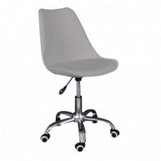 Καρέκλα Γραφείου Χρώμιο PP Γκρι, Κάθισμα : Pu Γκρι Μονταρισμένη Ταπετσαρία MARTIN Woodwell 51x55x81/91υψ 19111 ΕΟ201,4