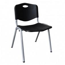Καρέκλα Στοιβαζόμενη Μέταλλο Βαφή Silver, PP Μαύρο STUDY Woodwell 53x55x77υψ 14738 ΕΟ549,1