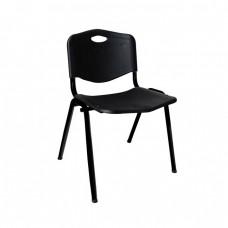 Καρέκλα Στοιβαζόμενη Μέταλλο Βαφή Μαύρο, PP Μαύρο STUDY Woodwell 53x55x77υψ 22047 ΕΟ549,2