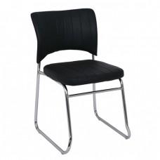 Kαρέκλα Γραφείου Επισκέπτη, Στοιβαζόμενη Μέταλλο Χρώμιο, Pu Μαύρο VENUS Woodwell 52x52x83υψ 18724 ΕΟ554,W